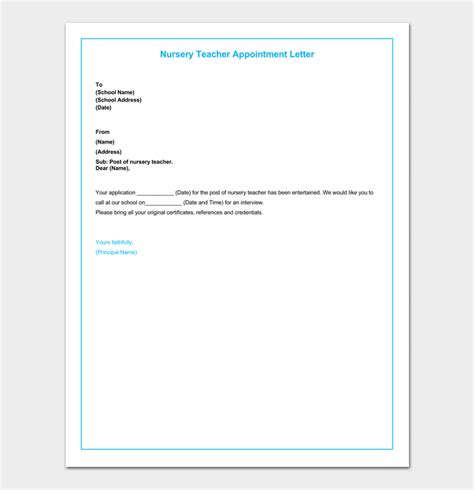 teacher appointment letter  sample letters formats