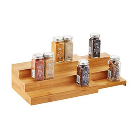 Tiered Shelves For Cabinets by 3 Tier Bamboo Expanding Spice Shelf The Container Store