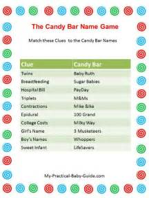 Baby Shower Candy Bar Game Answers