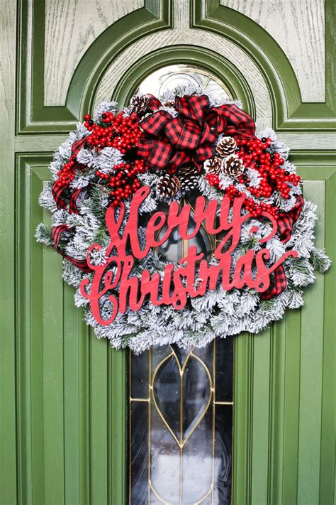 farmhouse christmas flocked wreath   home