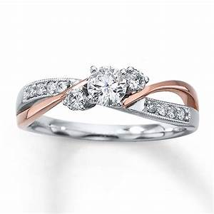 kay diamond engagement ring 3 8 ct tw round cut 14k two With two tone gold wedding rings