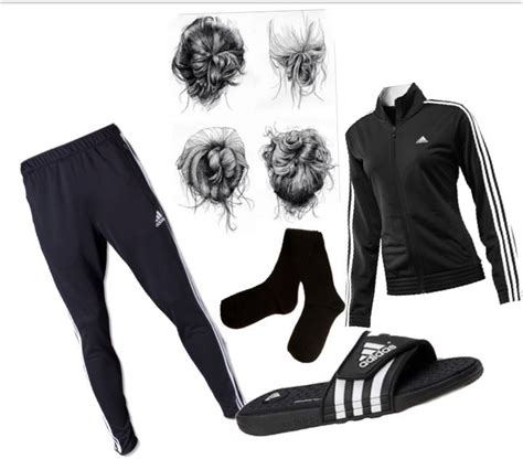 My perfect comfy cozy outfit creation. Adidas soccer pants black socks Adidas sandals black ...