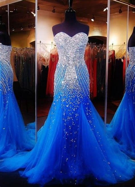 blue silver mermaid tulle gown  sequins pictures