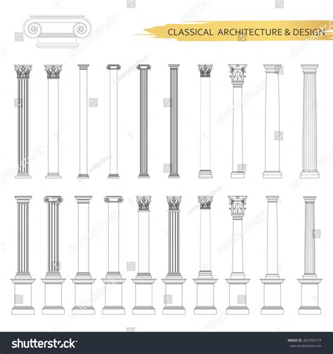 Classical Architectural Columns Drawings In Set Vector