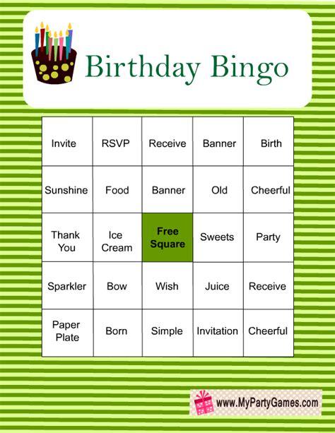 printable birthday bingo game  images