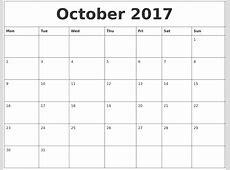 October 2017 Month Calendar Template