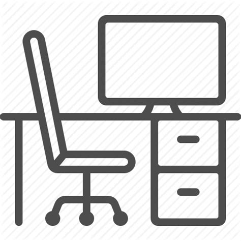 Office Desk Icon by Chair Computer Cubicle Desk Office Workplace Icon