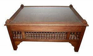 moroccan carved wood coffee table with glass from badia With moroccan wooden coffee table
