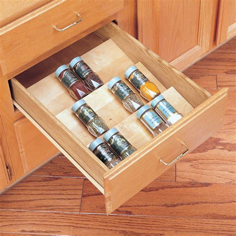 kitchen cabinet storage inserts rev a shelf wood spice drawer insert 16 quot w x 19 75 quot l 4sdi 5813