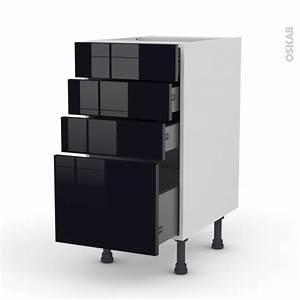 Meuble Cuisine Noir : meuble de cuisine casserolier keria noir 4 tiroirs l40 x h70 x p58 cm oskab ~ Teatrodelosmanantiales.com Idées de Décoration