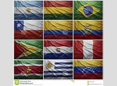 Flags Of All South American Countries, Collage Stock