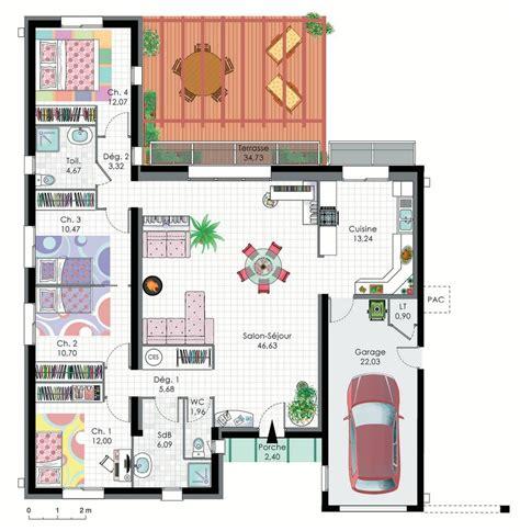plan maison en l 4 chambres finest great images about plan maison on house plans