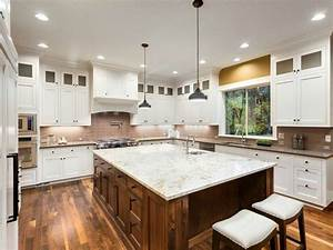 Beautiful, White, Theme, Kitchen, With, White, Marble, Kitchen, Island, And, Wooden, Flooring
