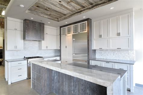 rustic chic grey  white kitchen rustic montreal