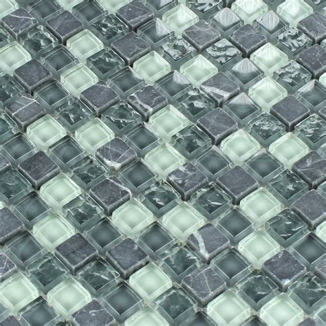 Crystal Glass Marble Mosaic Tiles Grey Mix TM33272m