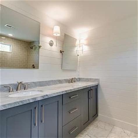 shiplap walls beautiful bathroom  dual sink vanity