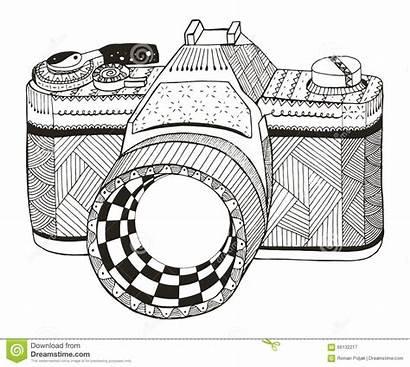 Zentangle Camera Vector Pencil Retro Pattern Freehand