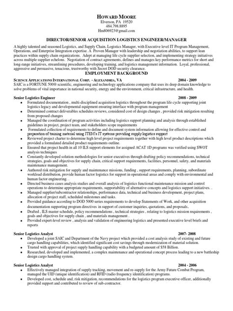 senior logistics manager in md pa va resume howard
