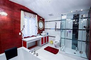 Glamorous nyc bathroom in red black and white decoist for Black white and red bathroom decorating ideas