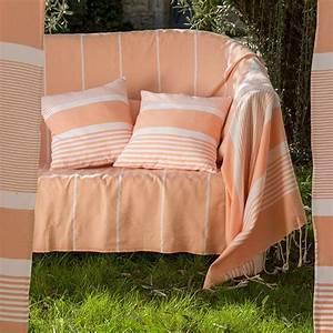 Jeté De Canapé Madura : jet de canap en coton 2 x 3m orange saumon et rayures ~ Melissatoandfro.com Idées de Décoration