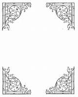 Corner Vine Clipart Corners Swirl Borders Printable Bos Calligraphy Frames Shadows Frame Doodle Wiccan Drawing Wreath Druckvorlagen Blank Witchy Coloring sketch template
