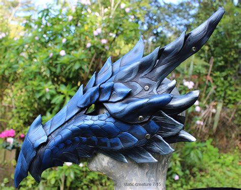 blue leather dragon mask weasyl