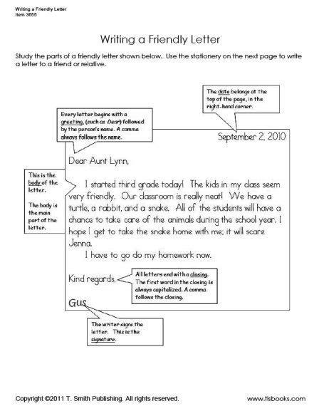 writing  friendly letter worksheet set letter