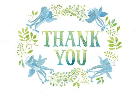 Thank You Tag In Blue Flowers Wreath  Illustrations On Creative Market