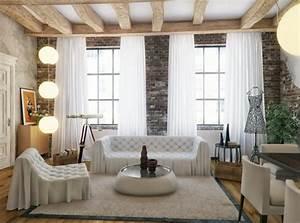 Mur Brique Blanc : design interieur decoration salon canap chesterfiel capitonn blanc mur brique poutres ~ Mglfilm.com Idées de Décoration