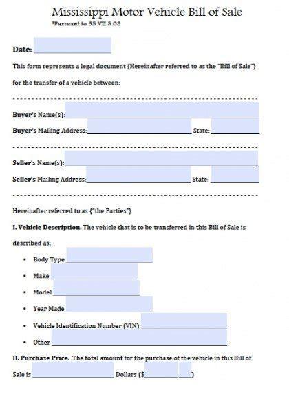 mississippi motor vehicle bill  sale form