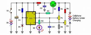 Portable Cellphone Battery Charger Circuit Diagram P1   20k P2   20k R1   390r R2   680r R3