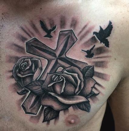 grey rose flowers  cross tattoo  man chest tatsart arttats tattoos  guys cross