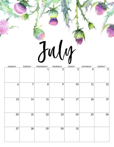 printable  monday start calendar floral paper