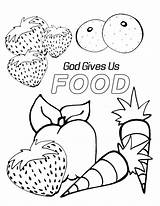 Coloring Pages Preschool Food God Bible Sunday Sheets Gives Printable Children Preschoolers Crafts Healthy Gave Elementary Animals Lessons Lesson Special sketch template