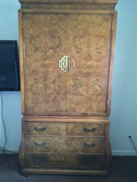 bedroom set  midcentury retro style burl wood