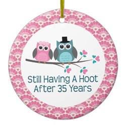 35th wedding anniversary gift 35th anniversary owl wedding anniversaries gift ornament zazzle