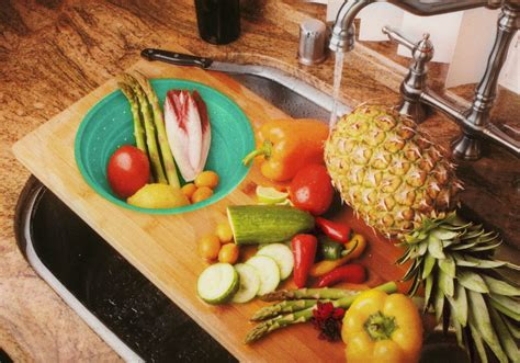 cutting sink board colander bamboo collapsible island