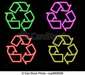 Stock Illustration of Neon Recycle Sign neon colorful recycling sign green csp Search EPS Clip Art Drawings Illustrations and