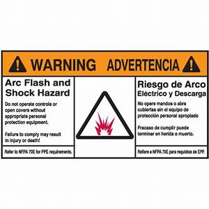 nec arc flash protection labels bilingual arc flash With arc flash and shock hazard labels