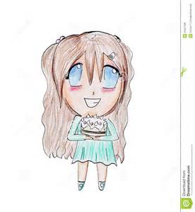 Cute Girl Drawings Holding a Happy Birthday Cake