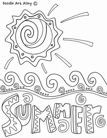 Coloring Summer Pages Seasons Printables Season Doodles