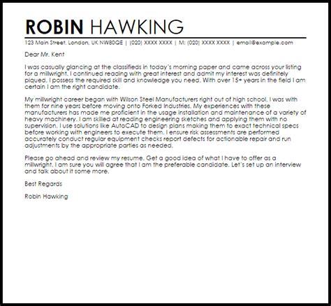 millwright cover letter sle livecareer