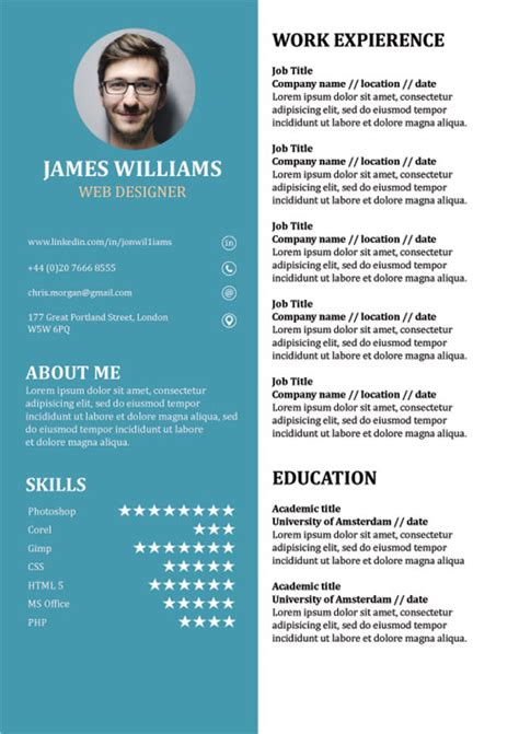 Resume Template Doc by Resume Template Creative Cv Doc Word Free