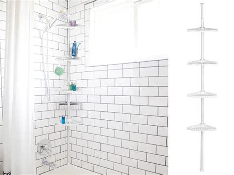 tier corner shelf bath unit white caddy telescopic