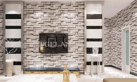 chinese style dining room  wallpaper stone brick design