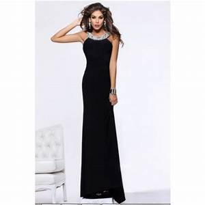 Sheath Scoop Neck Backless Long Black Chiffon Formal