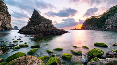 sunset  futo nishizo cove japan wide wallpaper