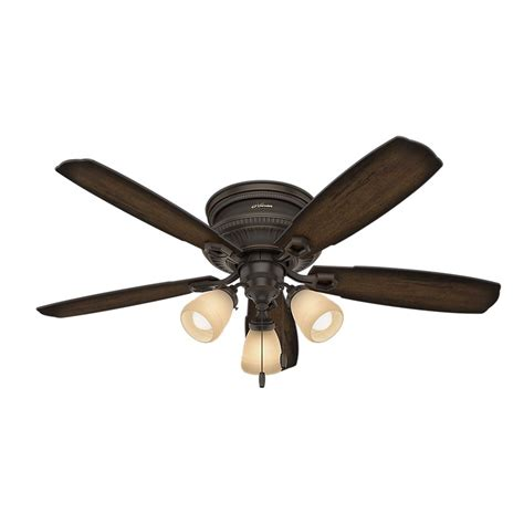 hunter low profile ceiling fan with light hunter ambrose 52 in led indoor onyx bengal bronze low