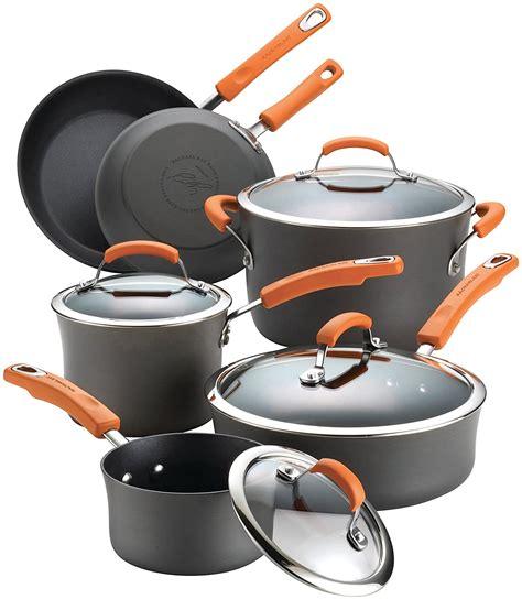 cookware rachael ray anodized hard piece nonstick bakeware brights pan pots under lids handles aluminum pot gray orange glass sets
