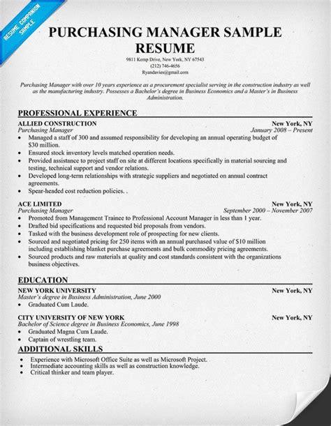 purchasing resume achievements purchasing manager resume resumecompanion resume